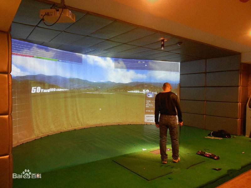 无转折,圆弧过度平整,视角感受很真实,环幕模拟高尔夫的场地要求如下