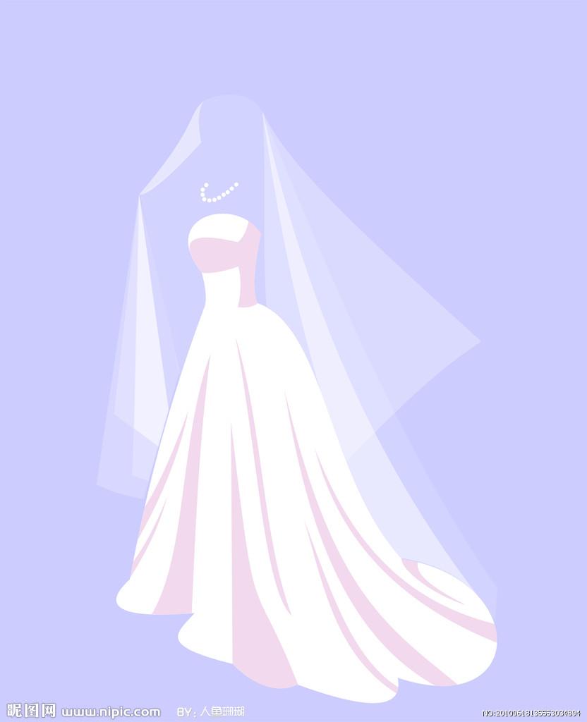 卡通婚纱人矢量图