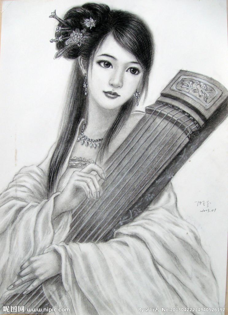 古装女生铅笔画